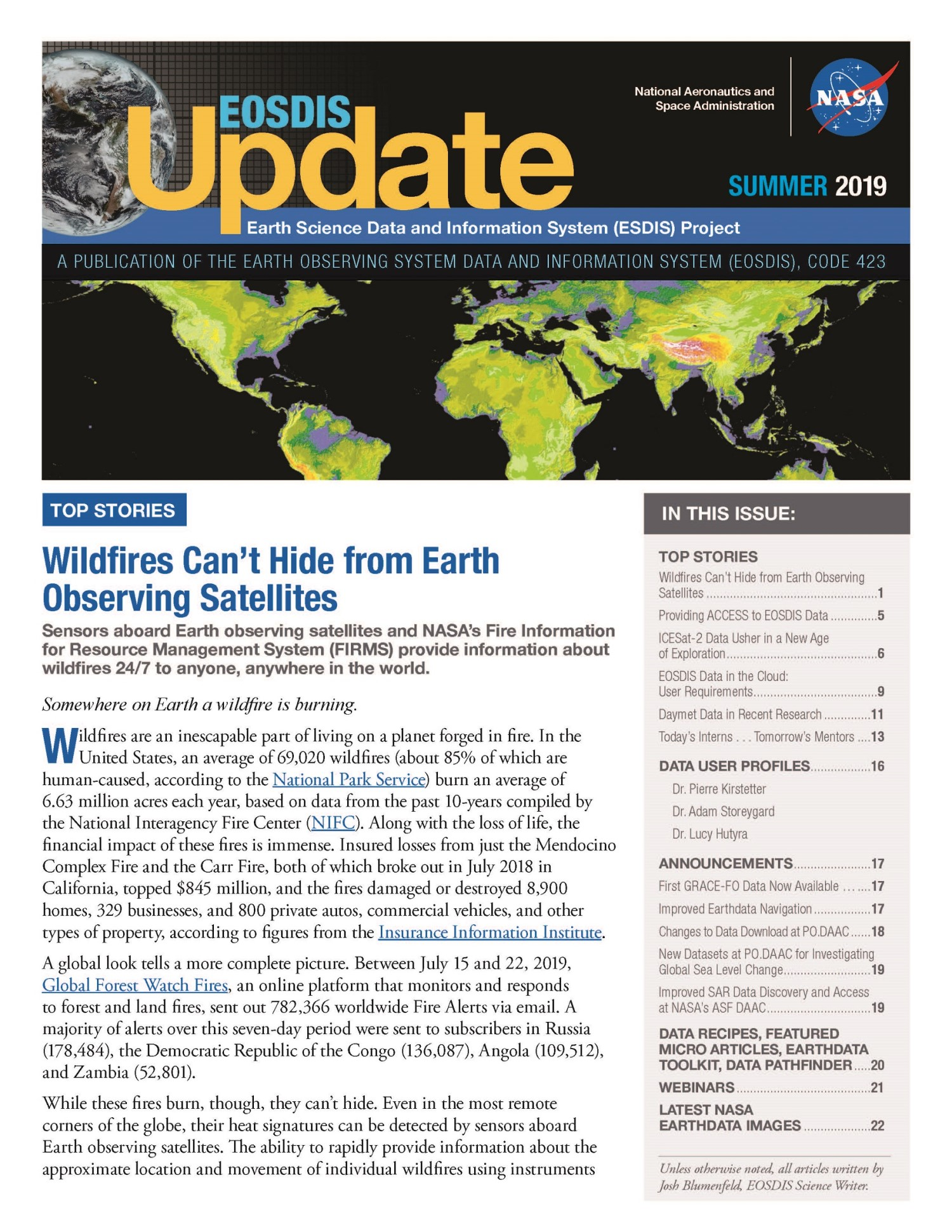 EOSDIS Quarterly Update- Summer 2019 Newsletter Cover Image