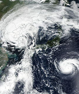 Typhoons Lingling and Faxai in Asia on 7 September 2019 (Suomi-NPP/VIIRS)