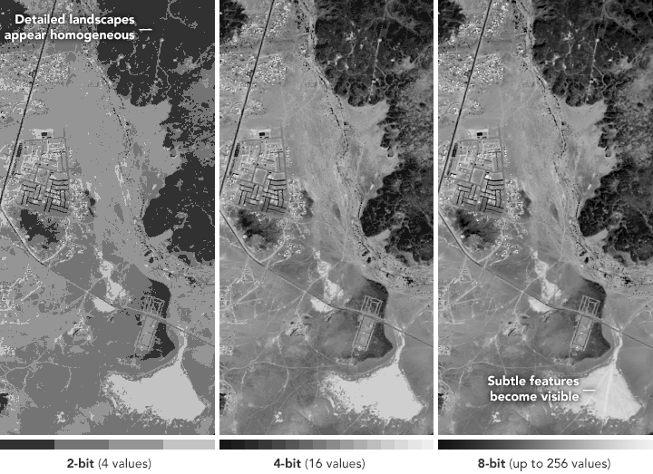 Advances in remote sensing technology have significantly improved satellite imagery. Among the advances were improvements in radiometric resolution—or how sensitive an instrument is to small differences in electromagnetic energy. Sensors with high radiometric resolution can distinguish greater detail and variation in light.