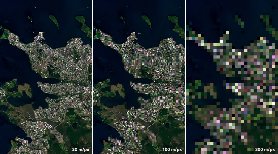 Landsat 8 data from July 7, 2019 over Reykjavík, Iceland.