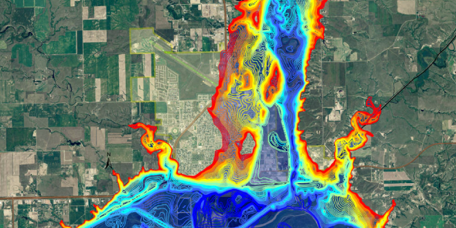 Projected flooding in Williston, ND after catastrophic dam failure. Reds indicate low flood depths versus blues which indicate high flood depths, upwards of 50 feet. Landsat data used to create this flood map.