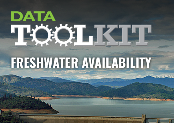 Photo of a freshwater lake and the logo for Data Toolkit: Freshwater Availability.