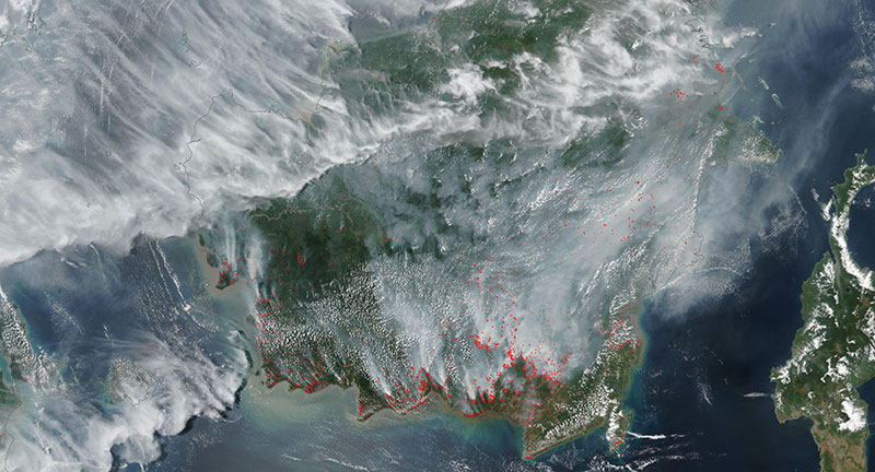 Fires in Kalimantan, Indonesia on 14 September 2019 (Suomi-NPP/VIIRS)