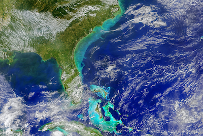 When Hurricane Dorian passed over the Bahamas and along the southeastern United States coastline, its waves resuspended large quantities of sea-floor sediment which give the ocean a milky, aquamarine appearance in the above composite of VIIRS data collected on September 7, 2019. The browner hues closer to the U.S. shore come from runoff generated by the heavy rainfall of the hurricane.
