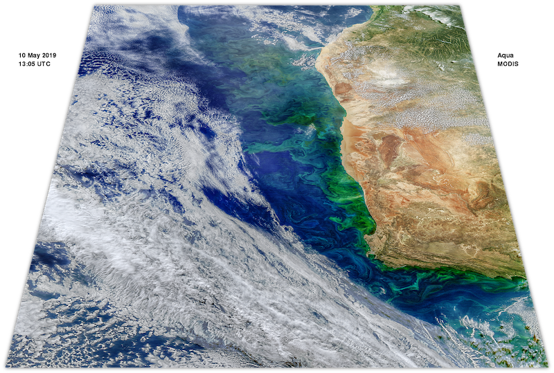This May 10, 2019 Aqua/MODIS image exhibits patterns driven by the same physics as the patterns found in the Benguela upwelling a year earlier. Recent measurements in part of the region indicate that the ocean here is a source of the potent greenhouse gas, nitrous oxide.