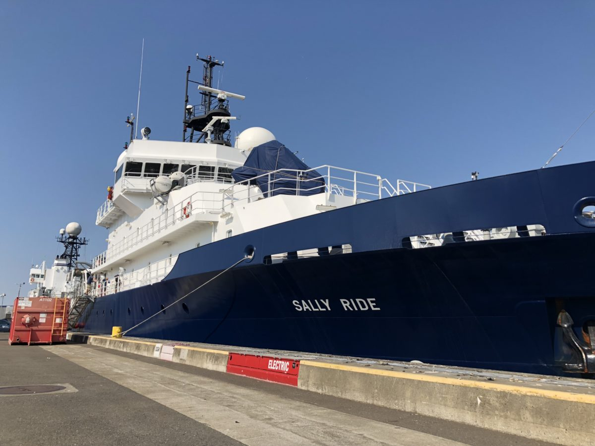 The R/V Sally Ride, operated by the Scripps Institution of Oceanography, before departing for the northeastern Pacific Ocean to collect detailed ship-based measurements of plankton.