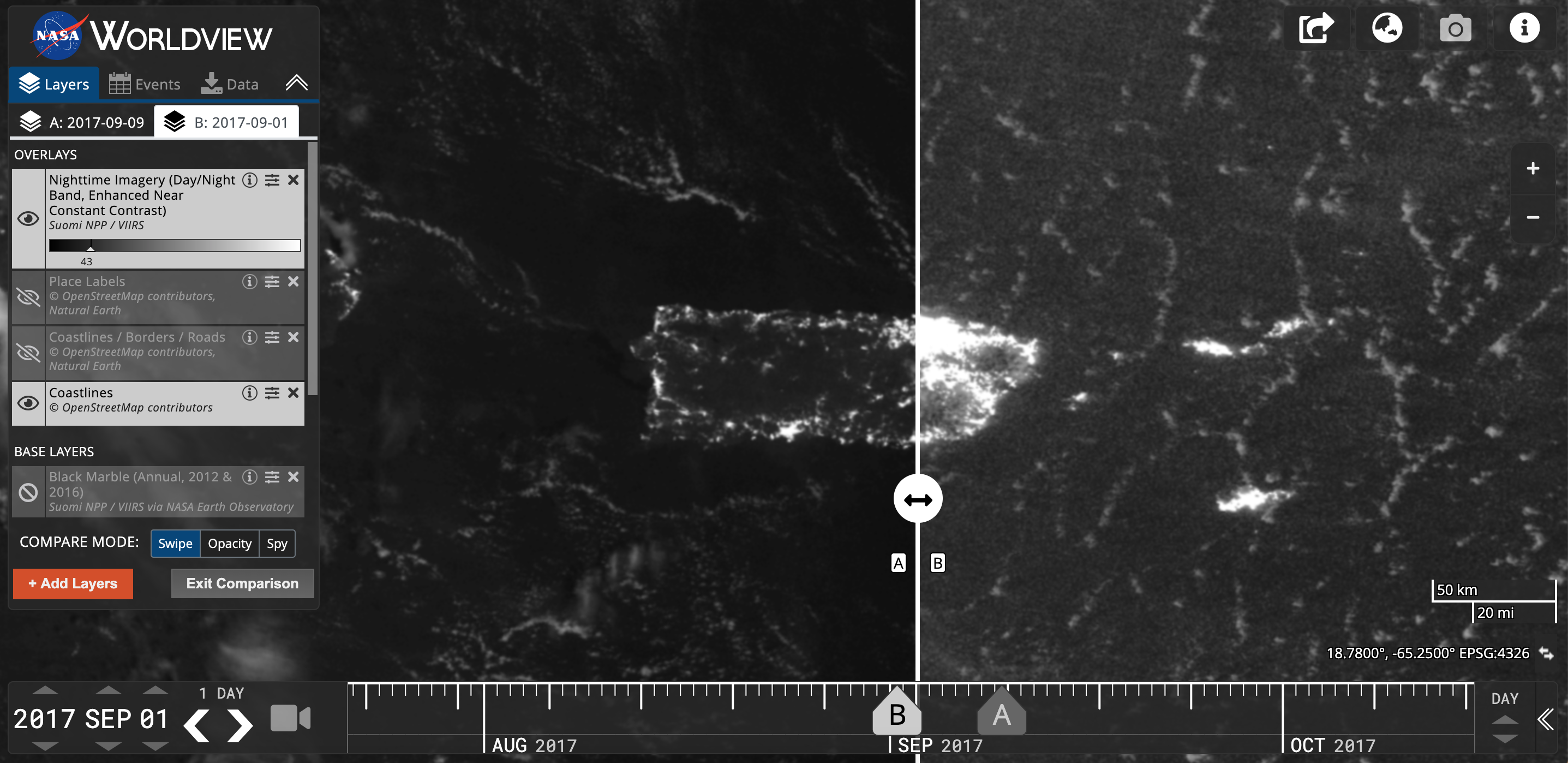 Worldview data visualization of the nighttime lights in Puerto Rico pre- and post- Hurricane Maria, which made landfall on September 20, 2017. Post-hurricane image shows widespread outages around San Juan, including key hospital and transportation infrastructure.