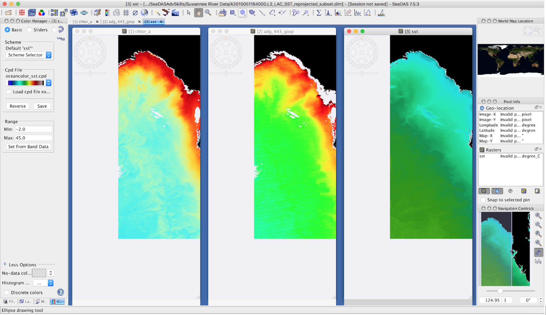 SeaDAS is a comprehensive software package for the processing, display, analysis, and quality control of ocean color data. This image shows ocean color, sea surface temperature and non-algal material plus colored dissolved organic matter.