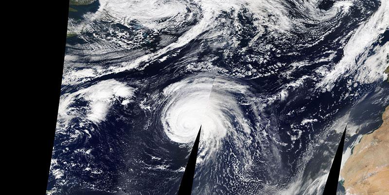 Hurricane Lorenzo in the Atlantic Ocean