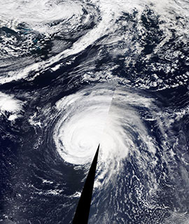 Hurricane Lorenzo in the Atlantic Ocean