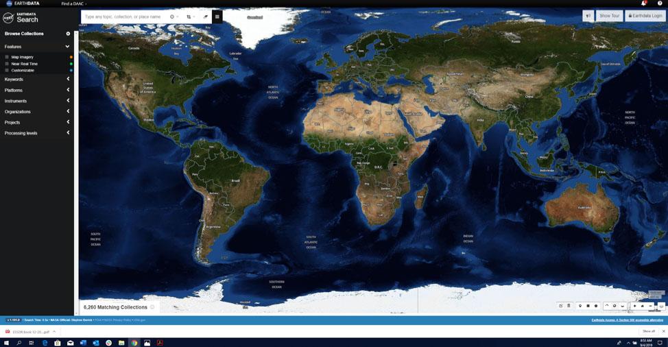 Screenshot of Earthdata Search showing the whole globe.