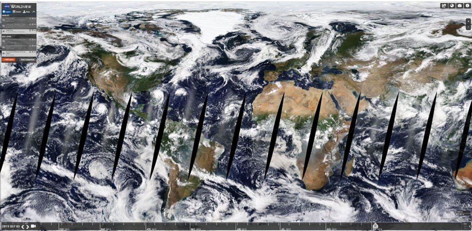 Screenshot of Worldview showing the whole globe.