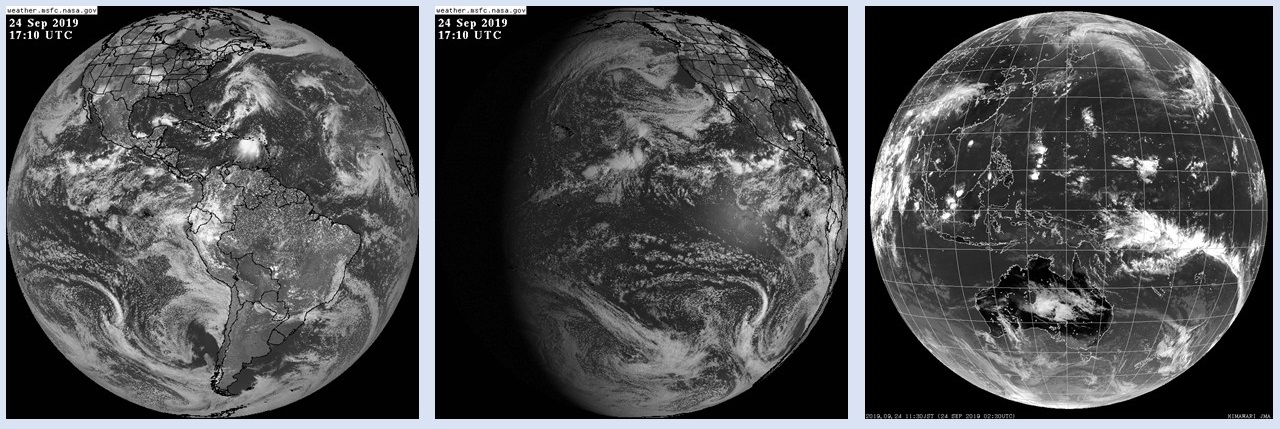 Three side-by-side black and white images showing full disk Earth images acquired by GOES-East (left image), GOES-West (center image), and Himawari-8 (right image). All images show Earth as it appeared on September 24, 2019, and show clouds, storm systems, and fronts. GOES-East shows the Atlantic Ocean and Eastern U.S.; GOES-West shows Western U.S. and Pacific Ocean; Himawari-8 image shows Asia, Australia, and Pacific Ocean.