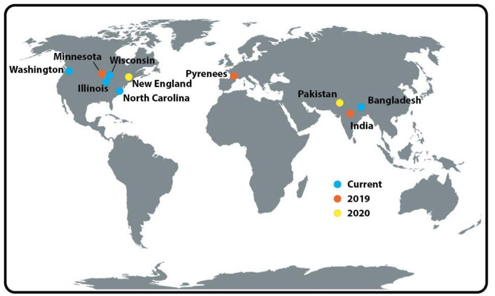 Map of the world showing locations of LOCSS study sites current from June 2019, projecting to 2020.