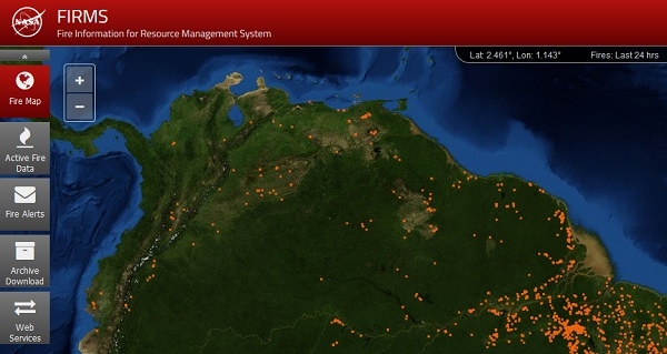 FIRMS Fire Map image showing the northern edge of South America with numerous orange dots indicating the location of MODIS-detected hotspots.