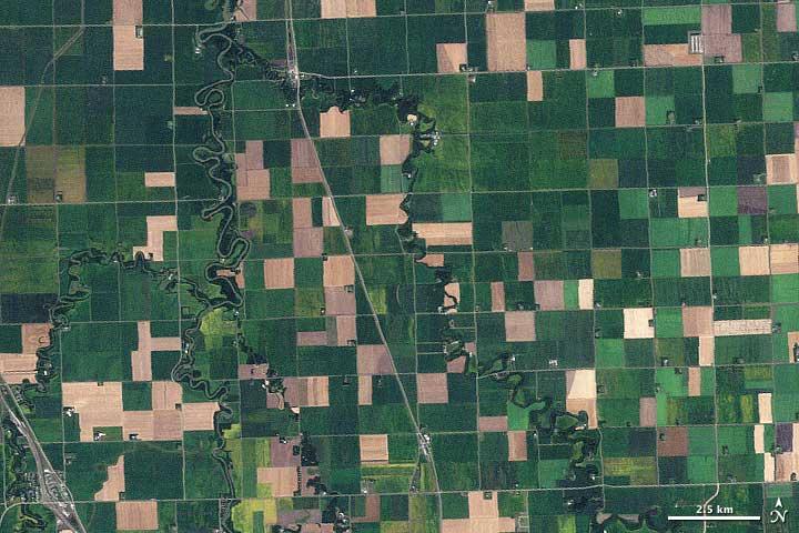 September 10, 2009, Landsat image of farmland across northwest Minnesota