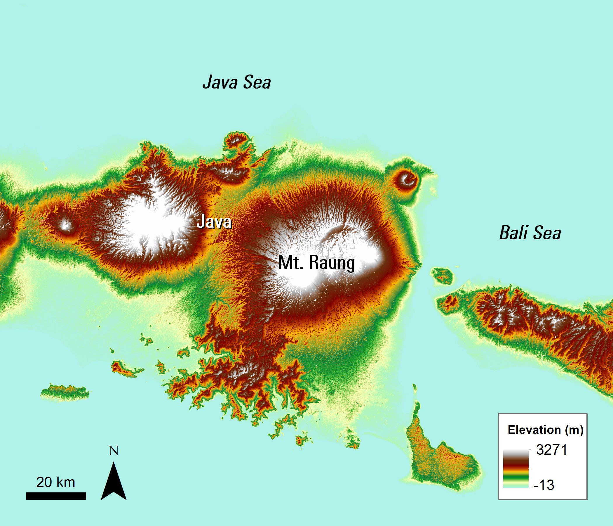 An ASTER GDEM image of Mt. Raung and the surrounding area.