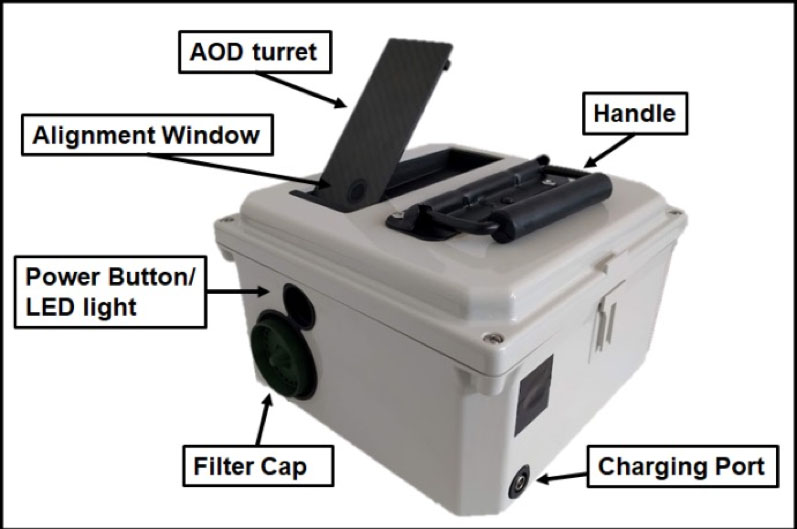 Photo of CEAMS AMOD sensor with new features labeled.