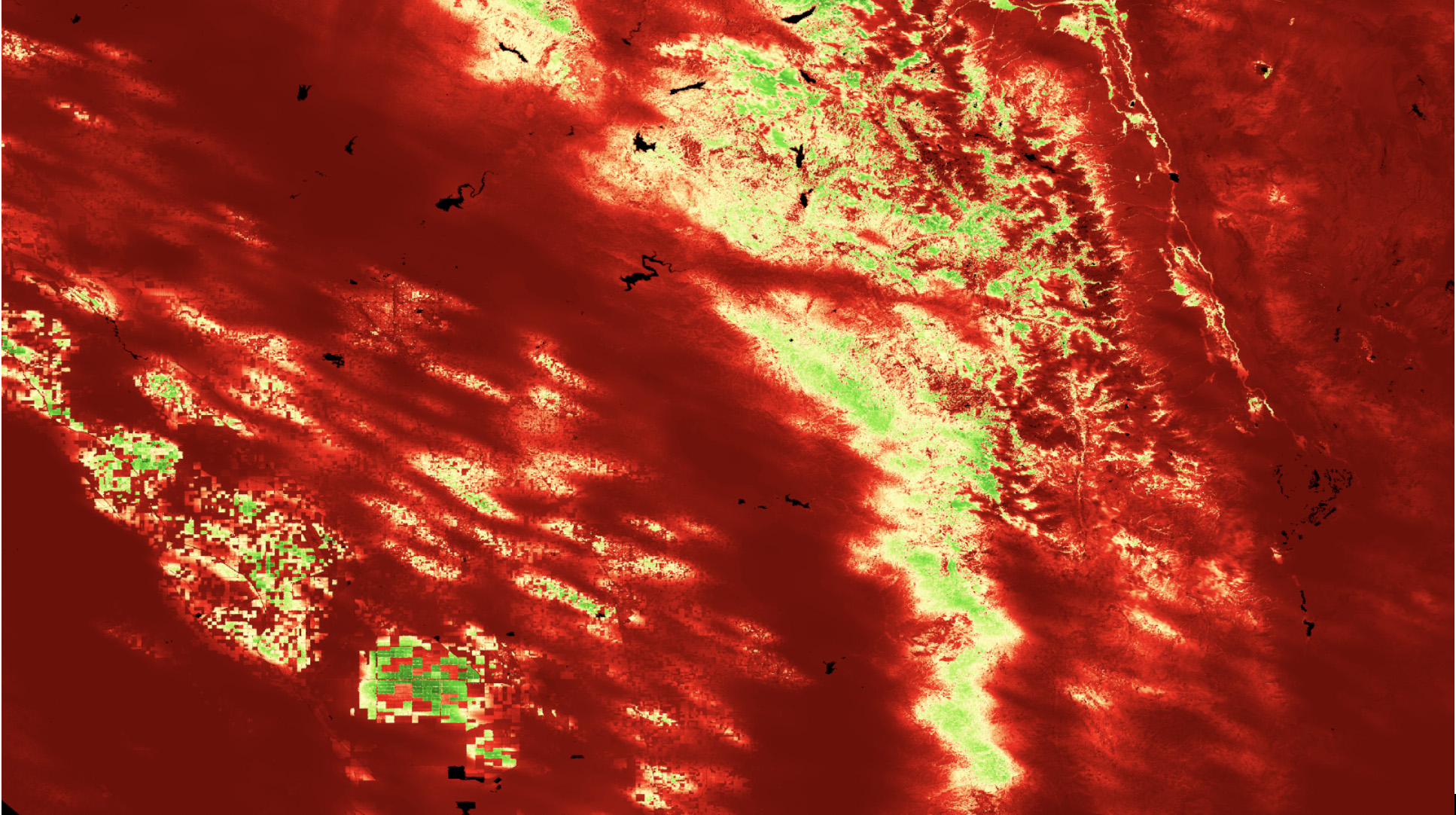 Level 4 Evaporative Stress Index PT-JPL, average from August 5, 2018 captured over California's Central Valley. High ESI is in shades of green and low ESI in shades of red.