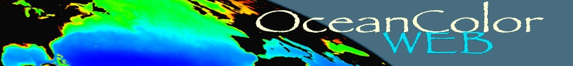 OceanColor logo with the words OceanColor Web overlaying an image of Earth with chlorophyll concentrations indicated by various colors in water bodies.
