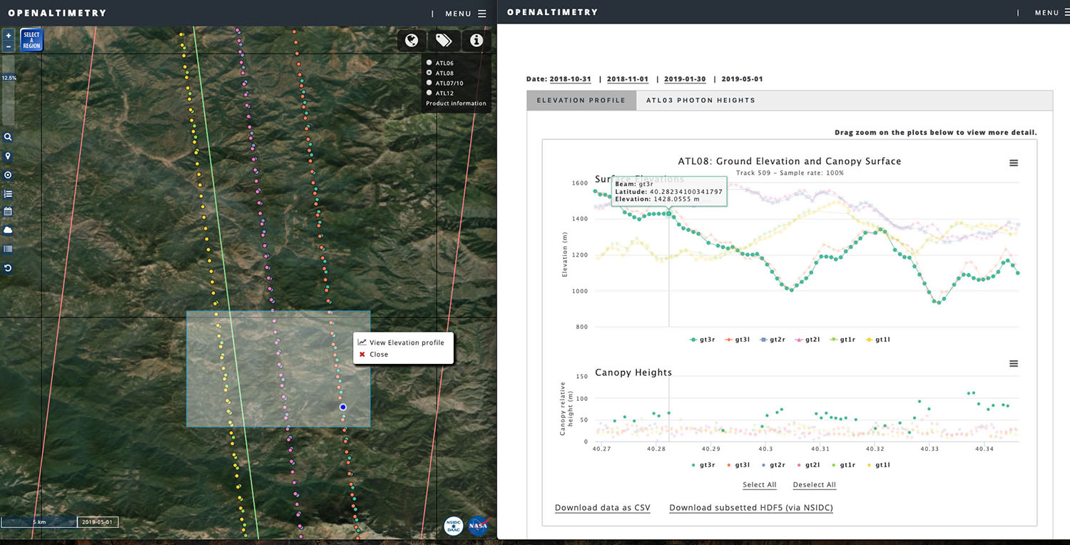Screenshot of OpenAltimetry showing elevation selection.