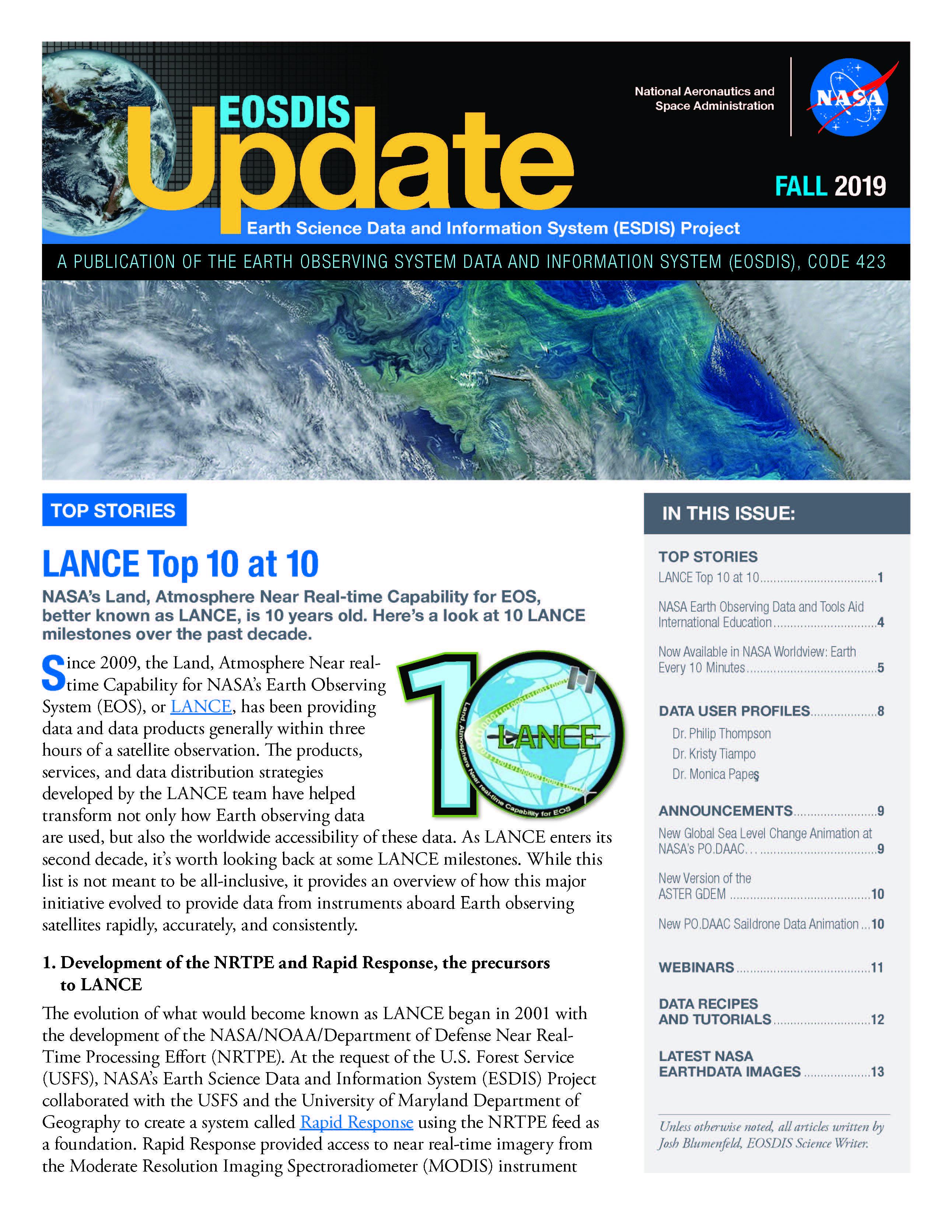 EOSDIS Quarterly Update- Fall 2019 Newsletter Cover Image