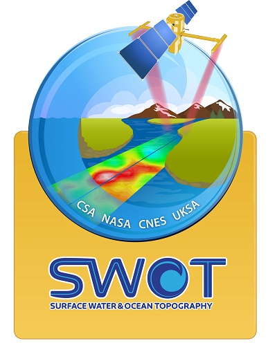 Logo for the SWOT mission showing a spacecraft sensing Earth over a body of water with the word