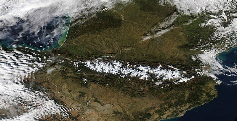 Snow in the Pyrenees Mountains on 15 December 2019 (Aqua/MODIS)