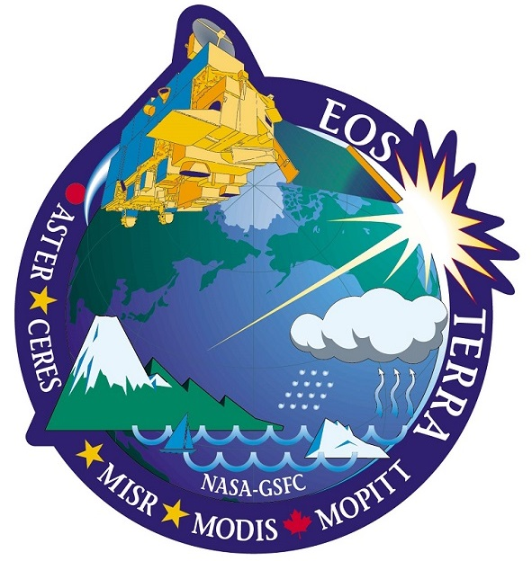 Mission logo showing the Terra satellite at the top and the words
