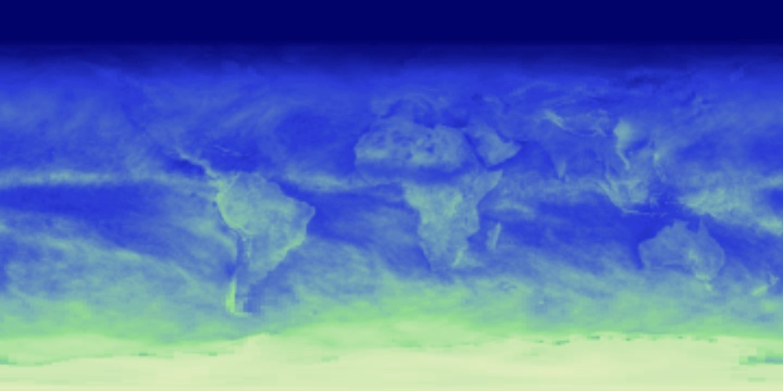 Image of global shortwave energy reflectance created from CERES data. Image shows continents with greenish white along the bottom (highest sunlight reflectance) grading to deep blue along the top of the image (least reflectance).