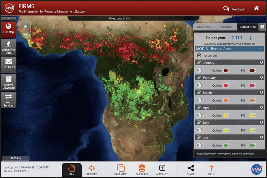 A screenshot of FIRMS map viewer showing MODIS burned area data and selection dialog.