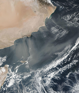 Dust off the coast of Oman on 27 January 2020 (Suomi NPP/VIIRS)