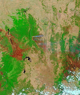 Fires in Namadgi National Park, Australia on 3 February 2020 (MODIS/Terra)
