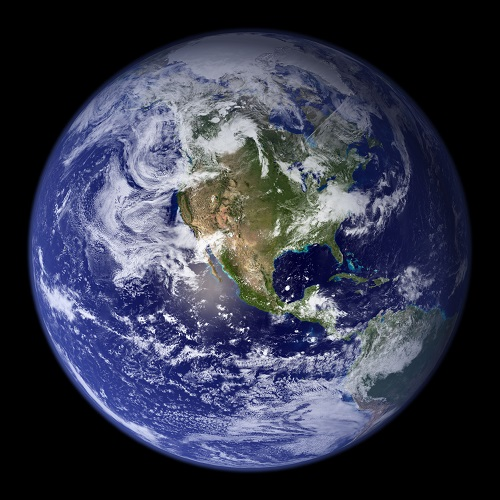Full disk image of Earth in super high resolution with North America in the center created from multiple true color images of Earth.