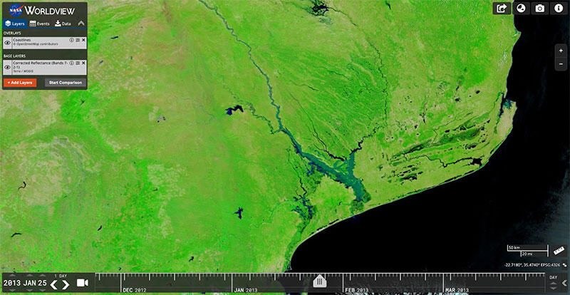Floods along the Limpopo River in Mozambique on 25 January 2013 (MODIS/Terra)