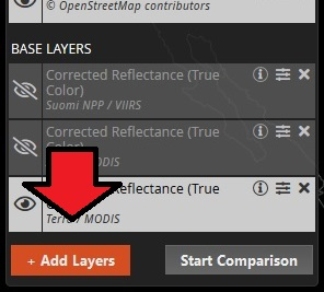 Screenshot of the bottom of the Worldview Layer List showing the orange