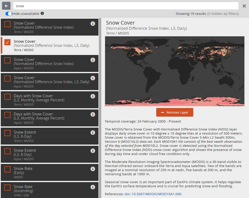 Screenshot showing list of Worldview layers on left side with the second layer selected. To the right is a panel with a preview of the layer showing the title of the layer at the top. Below this from top to bottom is a thumbnail of the layer image, a small orange box with