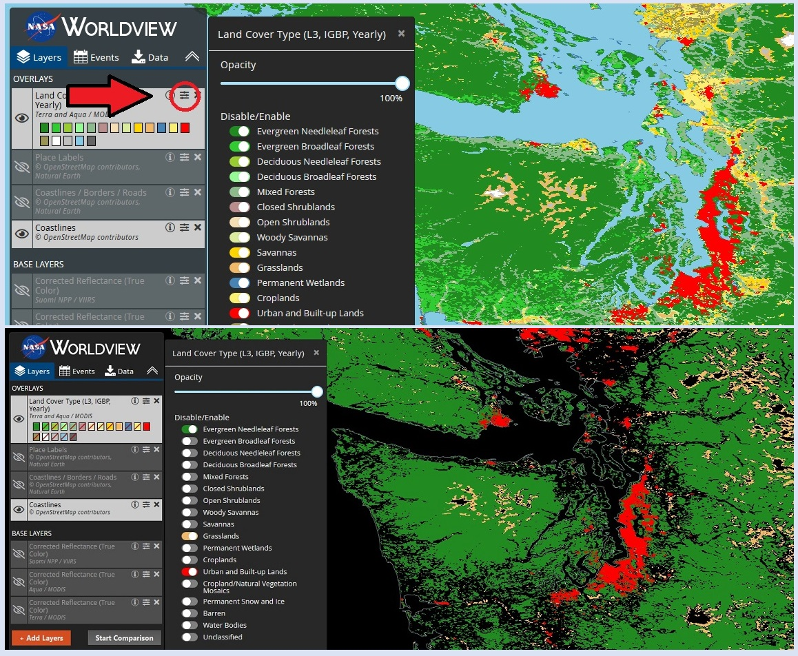 Two images arranged vertically. Top image shows Land Classification layer with a red arrow pointing to the layer options icon in the layer box; to the right is a drop-down menu showing all land type classification layers with toggles to turn layers on or off. All layers are on and the resulting image displays a map with all classification colors. Bottom image shows same map with only Evergreen Needleleaf Forests, Grasslands, and Urban and Built-up areas selected with the resulting three-color classifications displayed to the right.