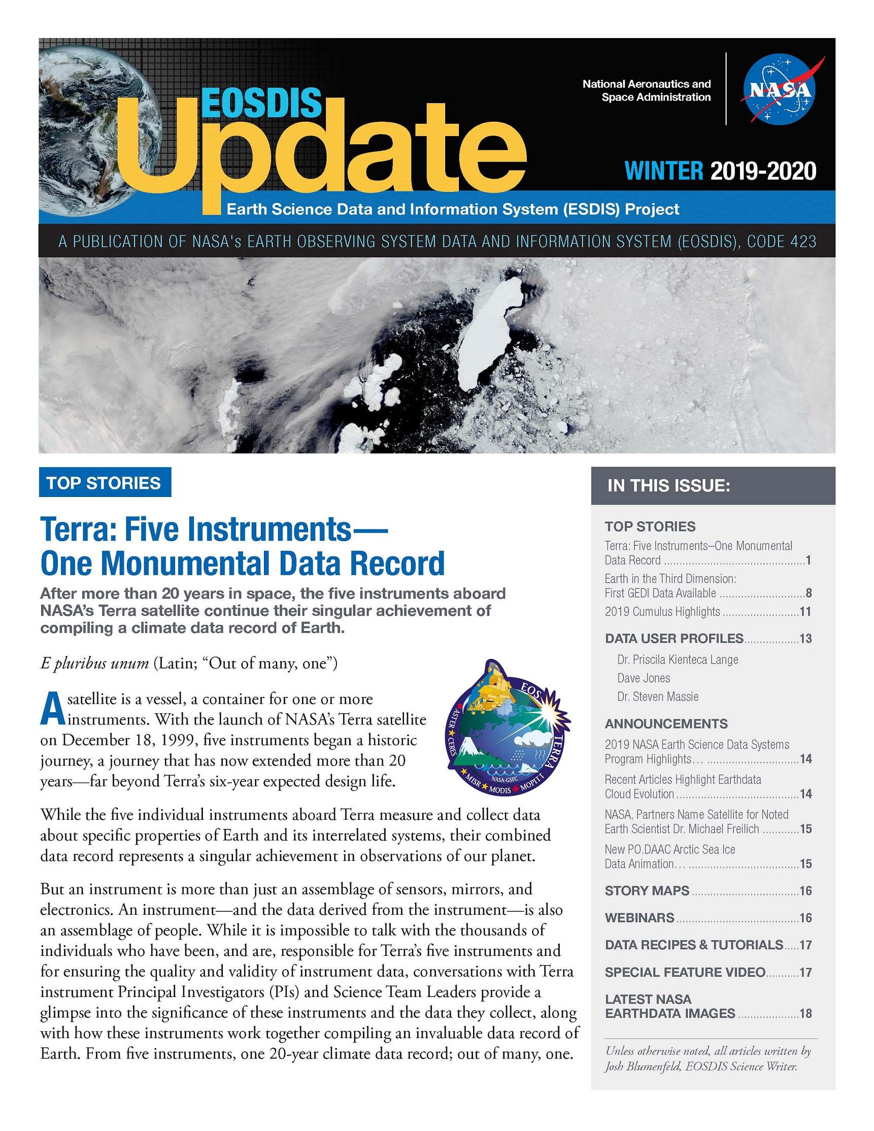 Cover- EOSDIS Update Winter 2019/2020 Newsletter Image