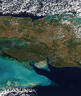 Fires in Cuba on 1 March 2020 (MODIS/Aqua)