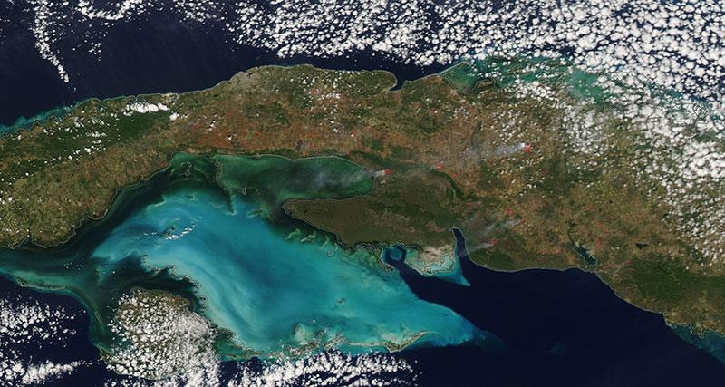 Fires in Cuba on 1 March 2020 (MODIS/Aqua)