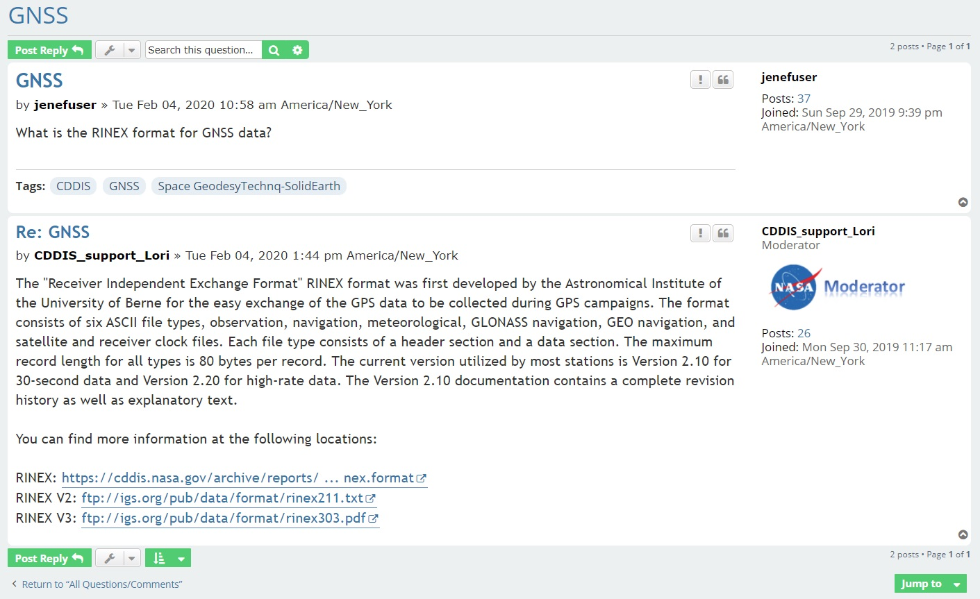 Screenshot of a question/response from Earthdata Forum. Question is related to GNSS and appears in the upper quarter of the rectangular box. A narrow box with question tags appears below the question box. Answer from CDDIS appears in a larger box under the narrow tag box with hyperlinks from CDDIS to more information at the bottom.