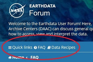 Small square screenshot with a blue/green background showing the top left corner of the Earthdata Forum home page. Earthdata Forum is in white at the top, text describing the forum is under this. Under this is a blue bar with the words Quick Links, FAQs, and Data Recipes circled in red to highlight them.