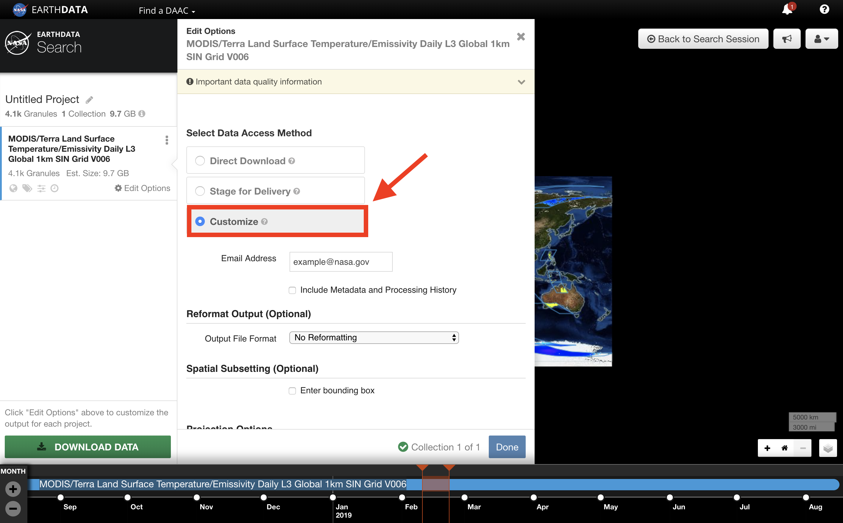Earthdata Search Custom 6