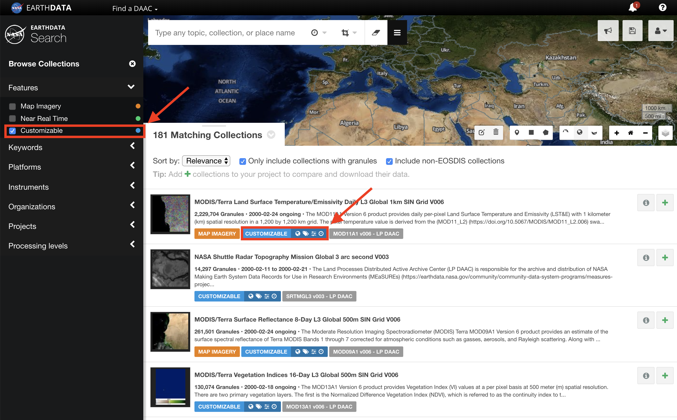 Earthdata Search Custom 1