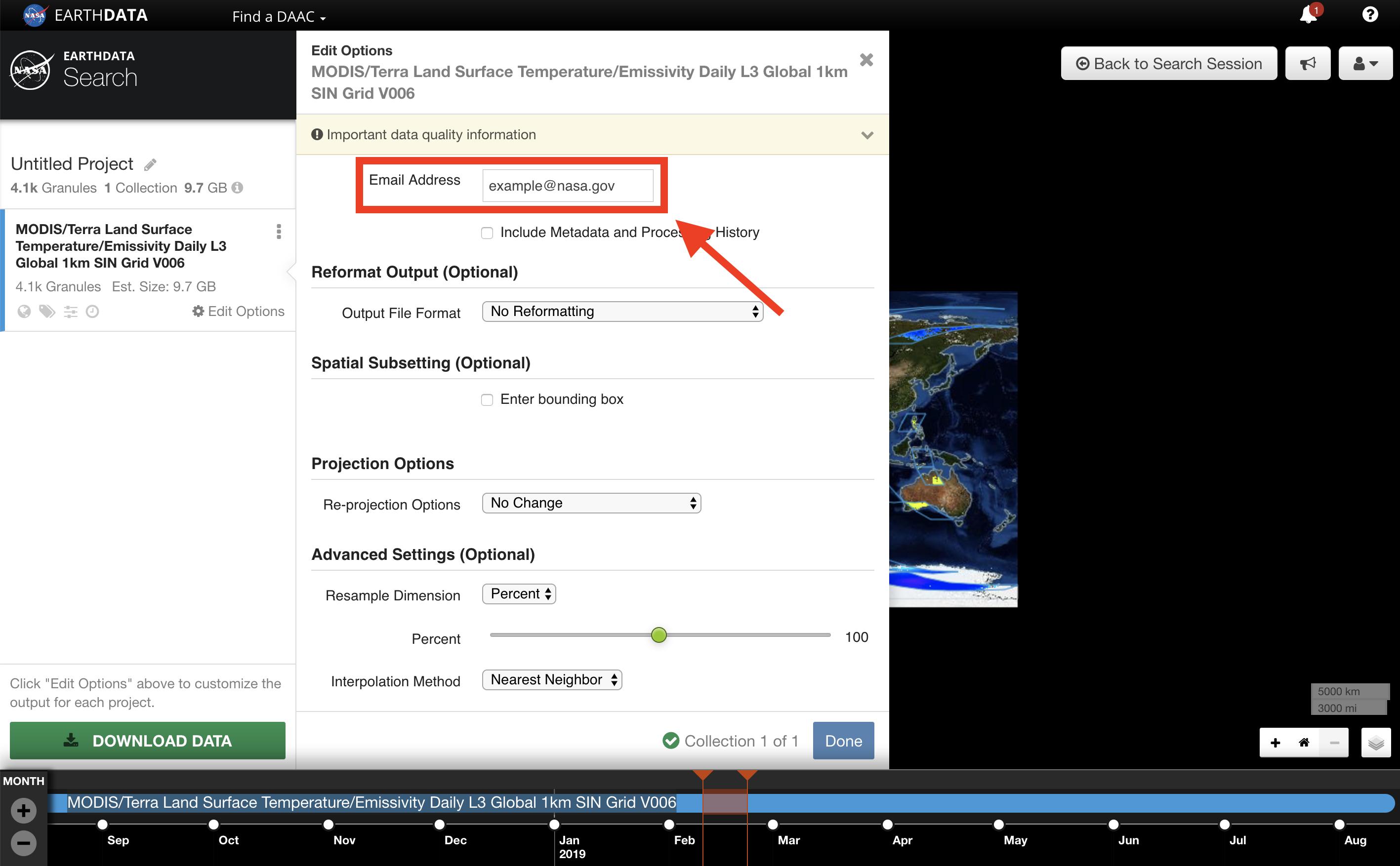 Earthdata Search Custom 7