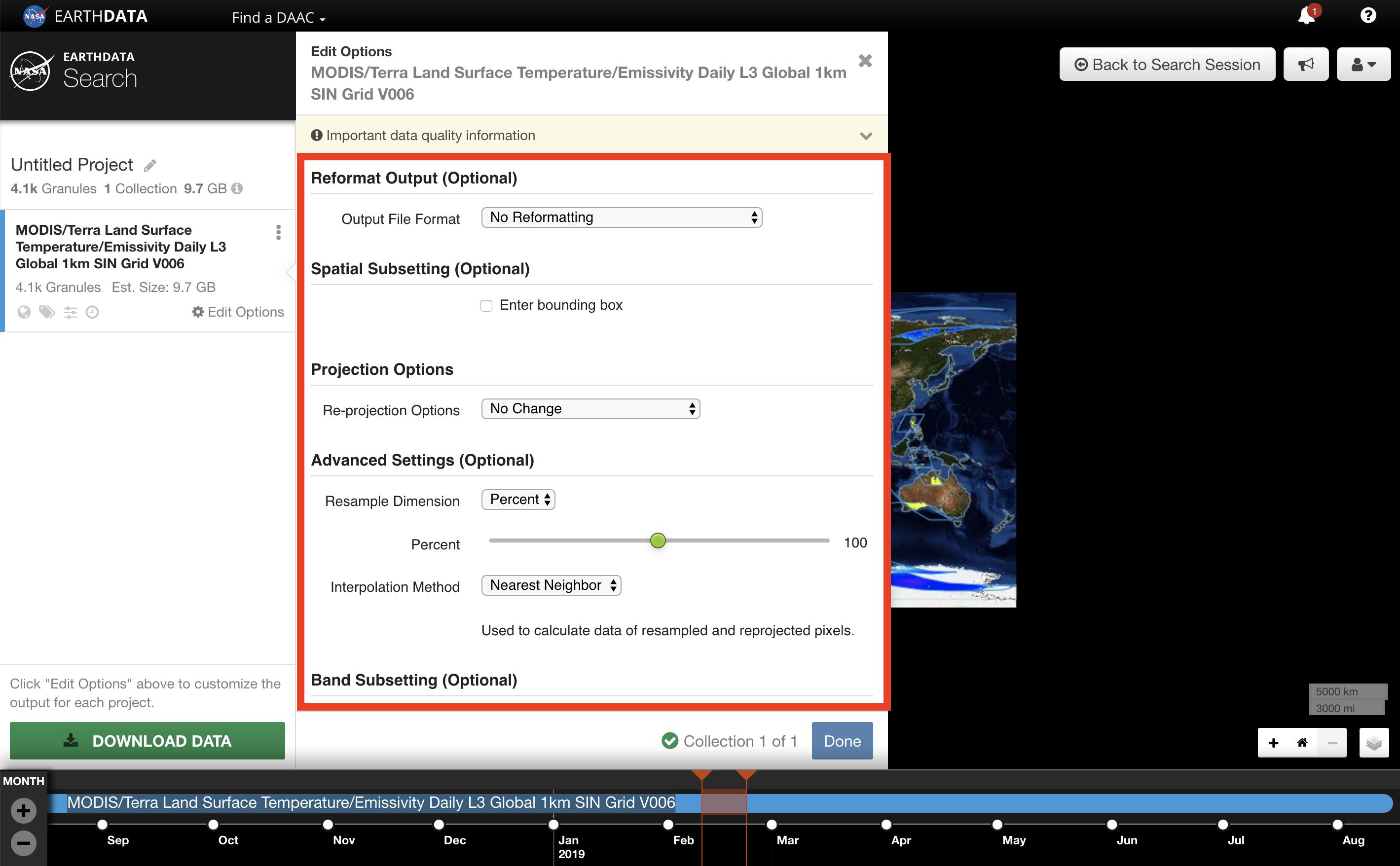 Earthdata Search Custom 8
