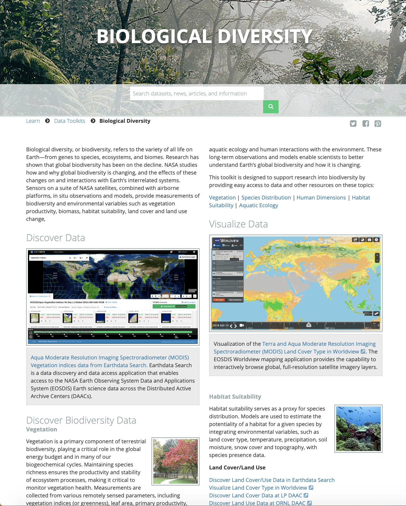 Screenshot of the Biodiversity toolkit page.