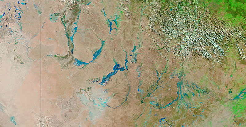 Floodwaters in south west Queensland, Australia due to rains from ex-tropical Cyclone Esther on 7 March 2020 (MODIS/Terra)