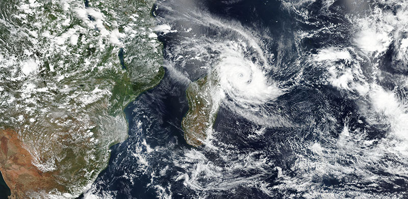 Tropical Cyclone Herold passes over the northern tip of Madagascar on 15 March 2020 (VIIRS/Suomi NPP)